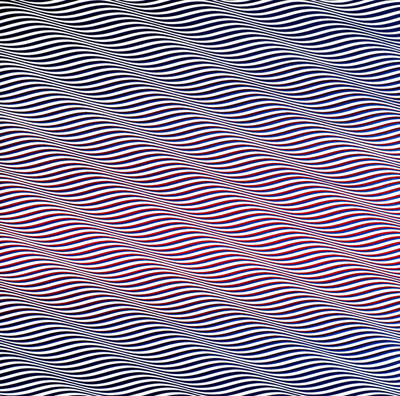 Bridget Riley (Cataract 3, 1967).  One of the greatest of the Op Art style.  Is it moving?