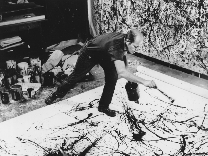 Jackson Pollock (1912-1956) - Is it art?  His drip paintings lead to big talks on quality and expression in the Art World.
